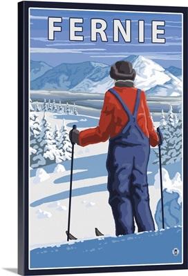 Fernie, Canada - Skier Admiring: Retro Travel Poster