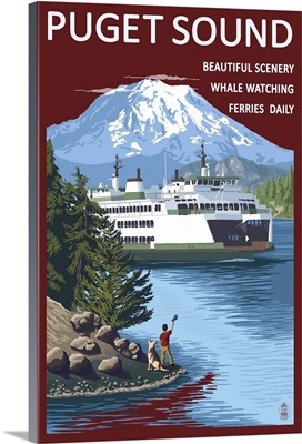 Ferry and Mount Rainier Scene - Puget Sound, Washington: Retro Travel Poster