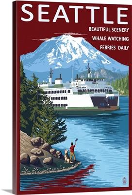 Ferry and Mount Rainier Scene - Seattle, Washington: Retro Travel Poster