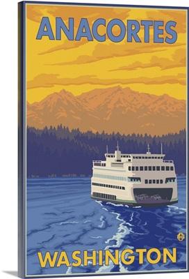 Ferry and Mountains - Anacortes, Washington: Retro Travel Poster