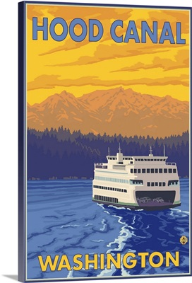 Ferry and Mountains - Hood Canal, Washington: Retro Travel Poster
