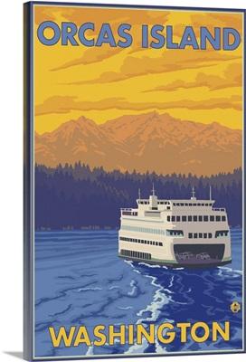 Ferry and Mountains - Orcas Island, Washington: Retro Travel Poster