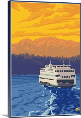 Ferry and Mountains: Retro Poster Art