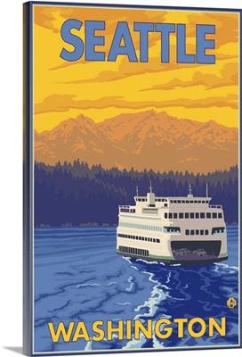 Ferry and Mountains - Seattle, Washington: Retro Travel Poster