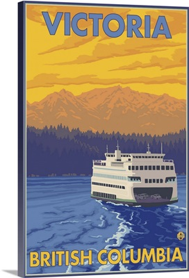 Ferry and Mountains - Victoria, BC Canada: Retro Travel Poster