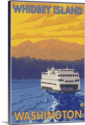 Ferry and Mountains - Whidbey Island, Washington: Retro Travel Poster