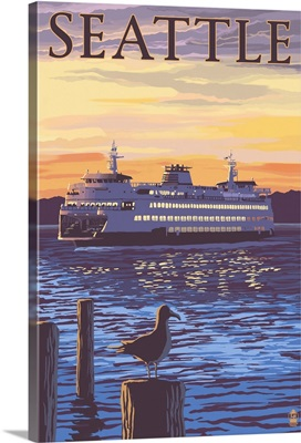Ferry Sunset and Gull - Seattle, WA: Retro Travel Poster