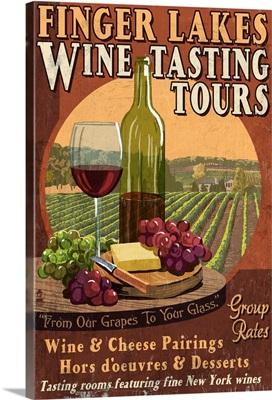 Finger Lakes, New York - Wine Tasting Vintage Sign: Retro Travel Poster