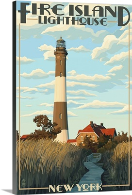 Fire Island Lighthouses - Captree Island, New York: Retro Travel Poster