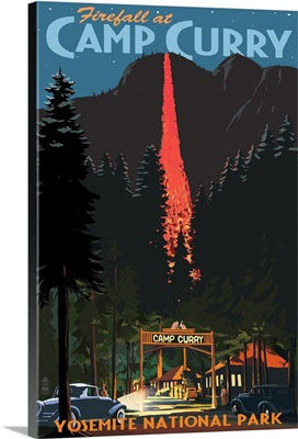 Firefall and Camp Curry - Yosemite National Park, California: Retro Travel Poster