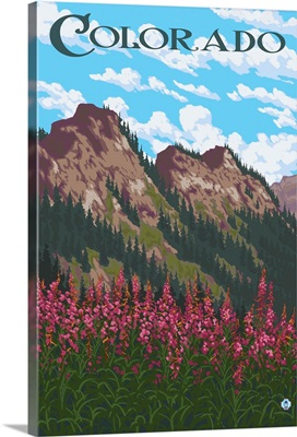 Fireweed and Mountains - Colorado: Retro Travel Poster