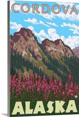 Fireweed and Mountains - Cordova, Alaska: Retro Travel Poster
