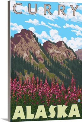 Fireweed and Mountains - Curry, Alaska: Retro Travel Poster