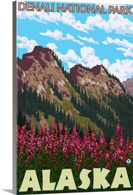 Fireweed and Mountains - Denali National Park, Alaska: Retro Travel Poster