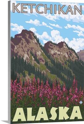 Fireweed and Mountains - Ketchikan, Alaska: Retro Travel Poster