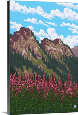 Fireweed and Mountains: Retro Poster Art