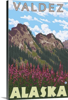 Fireweed and Mountains - Valdez, Alaska: Retro Travel Poster