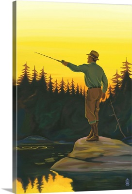Fisherman Casting: Retro Poster Art