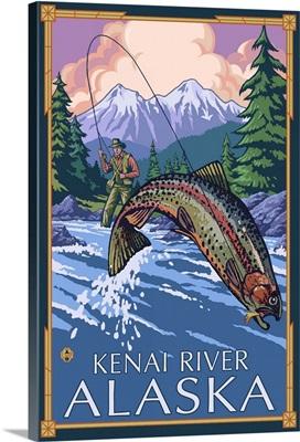 Fisherman - Kenai River, Alaska: Retro Travel Poster