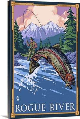 Fisherman - Rogue River, Oregon: Retro Travel Poster