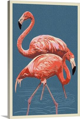 Flamingo - Letterpress: Retro Poster Art
