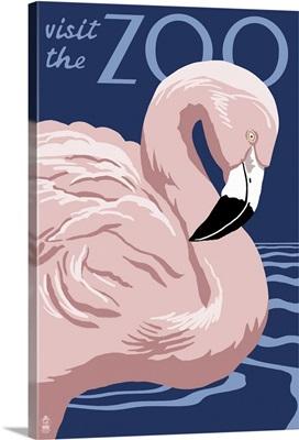 Flamingo - Visit the Zoo: Retro Travel Poster