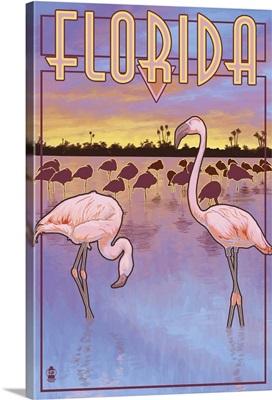 Flamingos - Florida: Retro Travel Poster