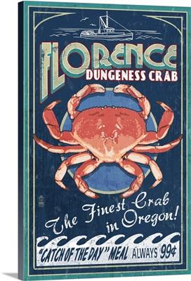 Florence, Oregon - Dungeness Crab Vintage Sign: Retro Travel Poster
