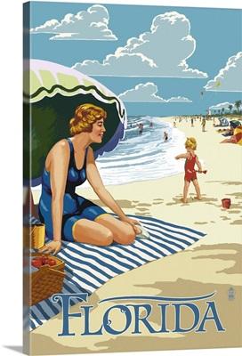 Florida - Beach Scene: Retro Travel Poster