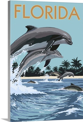 Florida - Dolphins Jumping: Retro Travel Poster
