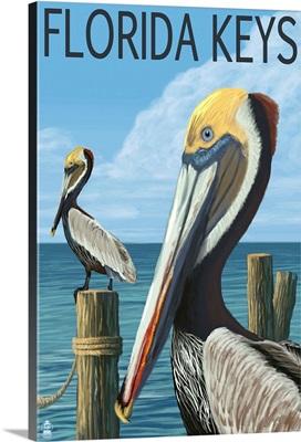 Florida Keys, Florida - Brown Pelican: Retro Travel Poster