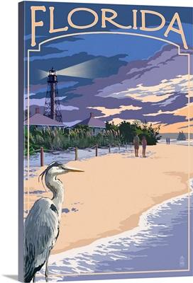 Florida - Lighthouse and Blue Heron Sunset: Retro Travel Poster