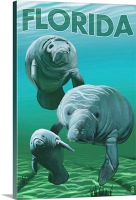 Florida - Manatees: Retro Travel Poster