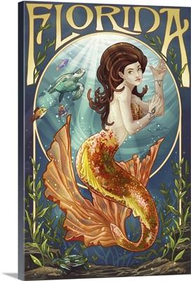 Florida - Mermaid: Retro Travel Poster