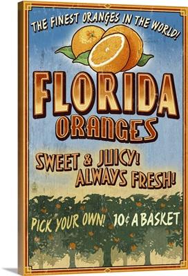 Florida - Orange Grove Vintage Sign: Retro Travel Poster