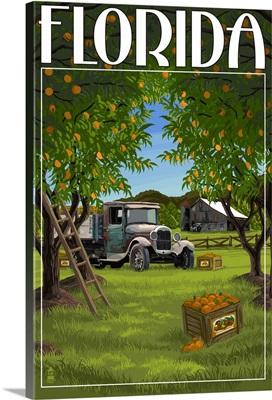 Florida - Orange Grove with Truck: Retro Travel Poster