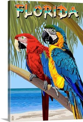 Florida - Parrots: Retro Travel Poster
