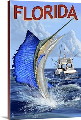 Florida - Sailfish Scene: Retro Travel Poster