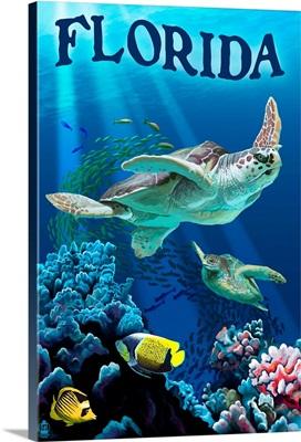Florida - Sea Turtles: Retro Travel Poster