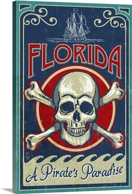 Florida - Skull and Crossbones: Retro Travel Poster