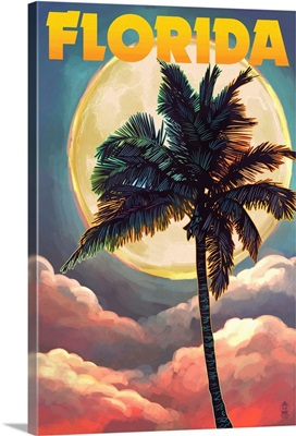 Florida - Sunset and Palm Tree: Retro Travel Poster