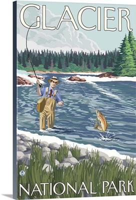 Fly Fisherman - Glacier National Park, Montana: Retro Travel Poster