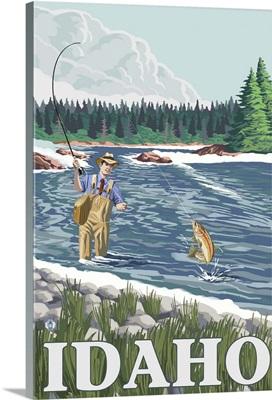 Fly Fisherman - Idaho: Retro Travel Poster