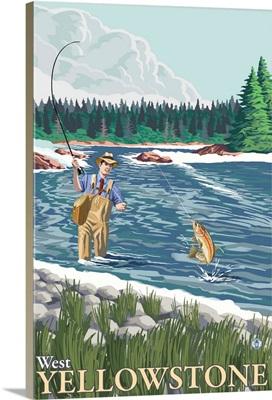 Fly Fisherman - West Yellowstone, Montana: Retro Travel Poster