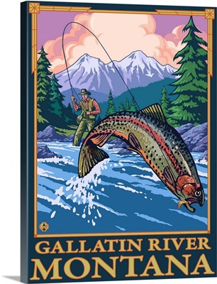 Fly Fishing Scene - Gallatin River, Montana: Retro Travel Poster