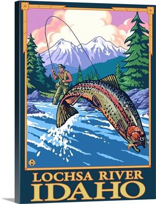 Fly Fishing Scene - Lochsa River, Idaho: Retro Travel Poster