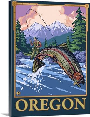 Fly Fishing Scene - Oregon: Retro Travel Poster