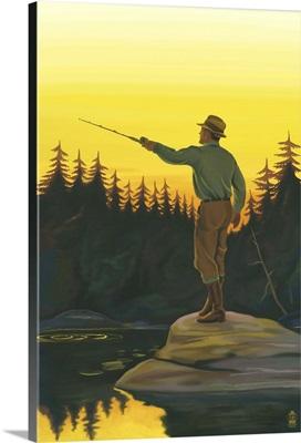Fly Fishing Scene: Retro Poster Art