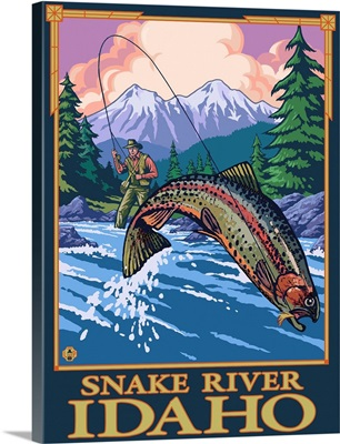 Fly Fishing Scene - Snake River, Idaho: Retro Travel Poster