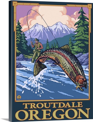 Fly Fishing Scene - Troutdale, Oregon: Retro Travel Poster